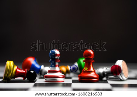 Print screen of flag on pawn chess of USA and China among others countries with black background.It is symbol of tariff trade war tax barrier between United States of America and China.-Image.