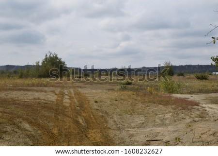 Deserted landscape. America, nobody on the road.  #1608232627