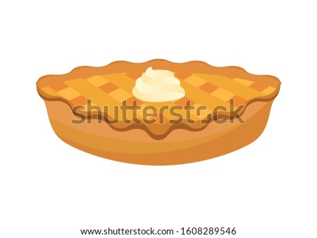 Classic american pie illustration. Pie isolated on a white background. Cake with whipped cream illustration. Apple Pie icon. Sweet Pie clip art