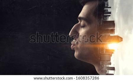 Man giving a kiss . Mixed media #1608357286