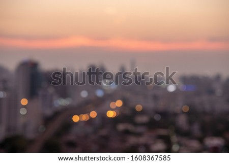 Blurred twilight picture of Bangkok city