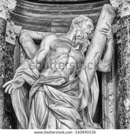 Statue of St. Andrew at the Basilica of St. John Lateran in Rome.  #160840136