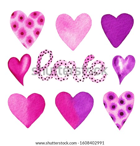 Set of hearts and lettering love, watercolor hand painted pink and purple hearts, valentine's day clipart, heart clip art, romantic set