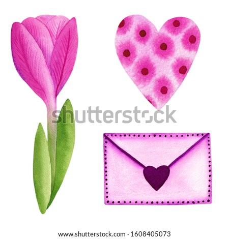Clipart heart, tulip and envelope. Watercolor hand painted valentine´s day clipart, saint valentine set, wedding clip art