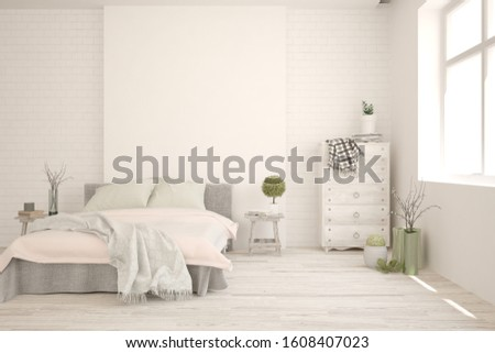 Stylish bedroom in white color. Scandinavian interior design. 3D illustration #1608407023