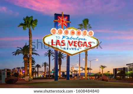 The Welcome to Fabulous Las Vegas sign in Las Vegas, Nevada USA at sunset #1608484840