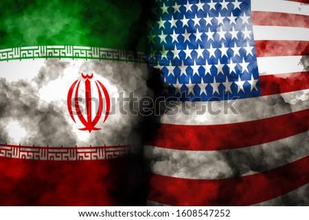 Iran and USA flag on smoke background, USA and Iran Crisis war  #1608547252