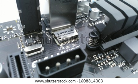 turkey - January 7, 2020: Close up of BİOSTAR computer motherboard with processor, chips and slots. #1608814003