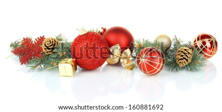 Composition of the Christmas decorations isolated on white Royalty-Free Stock Photo #160881692