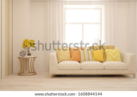 Stylish room in white color with sofa. Scandinavian interior design. 3D illustration #1608844144