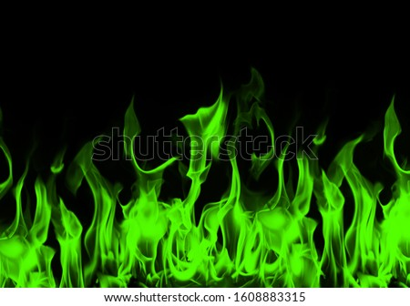 Green flames with dark background. Green fire flames abstract on black background. green fire flame. Seamless chemical fire and flame border. Green Flame. #1608883315