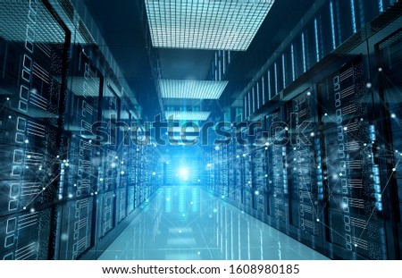 Connection network in dark servers data center room storage systems 3D rendering #1608980185