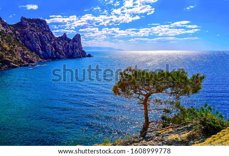 Mountain sea bay panorama. Sea bay in mountains. Mountain sea bay view. Sea bay landscape #1608999778