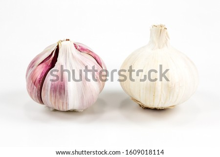 two closed white organic garlic bulbs with skin isolated on white background #1609018114