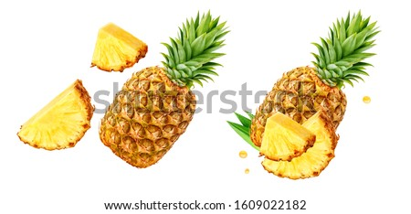 Fresh ripe pineapple fruit, pineapple fruit slices isolated. Juicy fruit design elements composition with focus stacking, white background. Tasty raw whole tropical fruit, healthy nutrition concept #1609022182