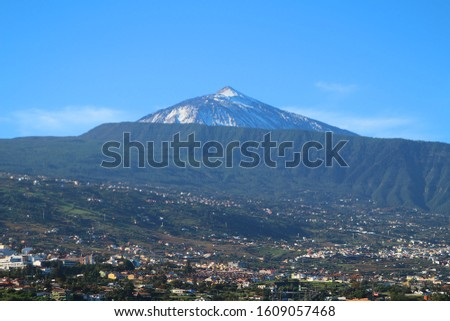 View at the snow covered volcano Teide after severe weather on Tenerife Island (Canary Islands, Spain)