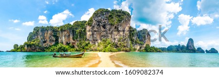Travel concept. Amazing view of beautiful beach with longtale boat. Artistic picture. Beauty world. Panorama. Creative collage.