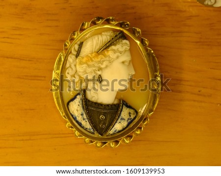 A variety of antique cameos carved from shell in intricate detail. #1609139953