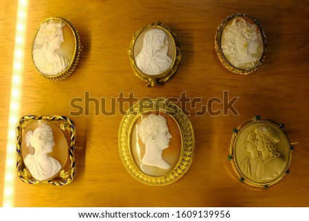 A variety of antique cameos carved from shell in intricate detail. #1609139956