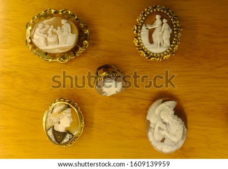 A variety of antique cameos carved from shell in intricate detail. #1609139959