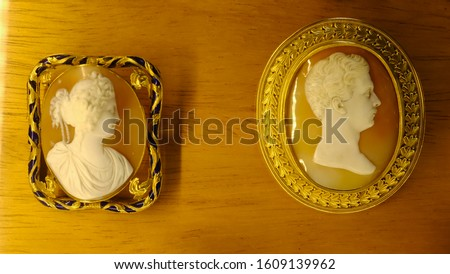 A variety of antique cameos carved from shell in intricate detail. #1609139962