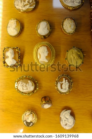 A variety of antique cameos carved from shell in intricate detail. #1609139968