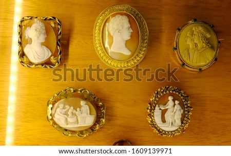 A variety of antique cameos carved from shell in intricate detail. #1609139971