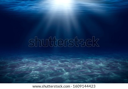 deep blue sea of underwater for background Royalty-Free Stock Photo #1609144423