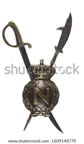 medieval silver royal heraldic emblem, shield and swords #1609148770
