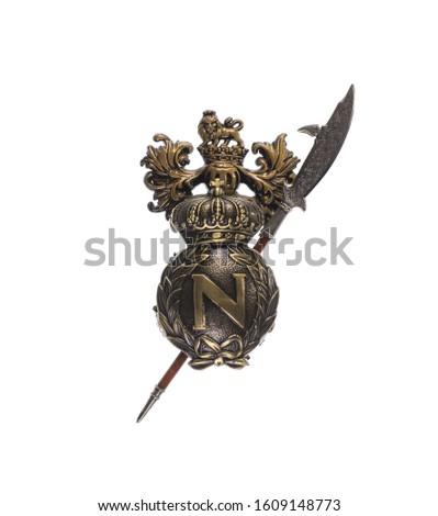 medieval silver royal heraldic emblem, shield and swords #1609148773