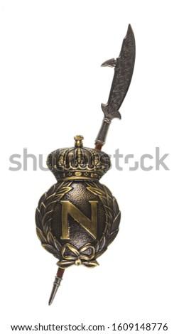 medieval silver royal heraldic emblem, shield and swords #1609148776