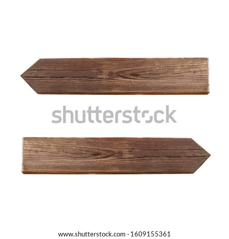 wooden pointers left, right isolated on white background stock photo #1609155361