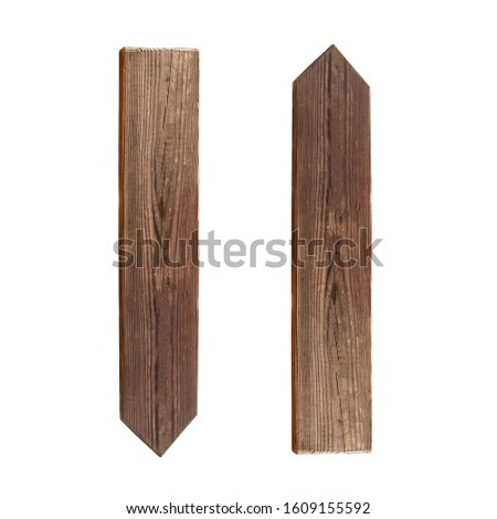 wooden pointers up, down isolated on white background stock photo #1609155592