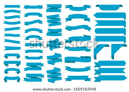 Ribbon banners, template labels set. Blank for decoration graphic. Vector illustration #1609183948