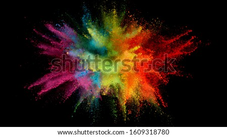 Explosion of colored powder isolated on black background. Abstract colored background #1609318780