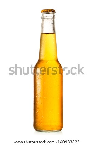 bottle of beer on white background Royalty-Free Stock Photo #160933823
