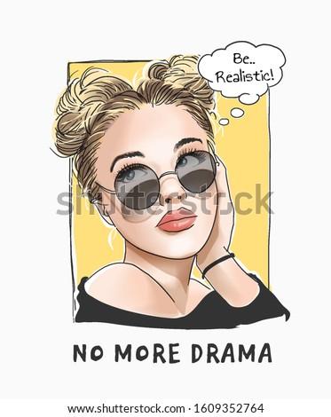 no more drama slogan with cartoon girl in sunglasses illustration Royalty-Free Stock Photo #1609352764