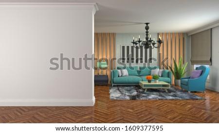 Interior of the living room. 3D illustration. #1609377595