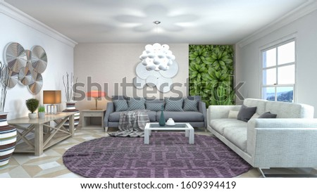 Interior of the living room. 3D illustration. #1609394419
