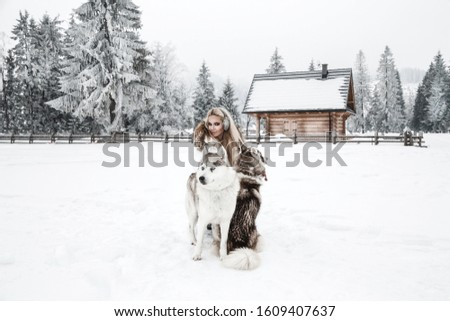 Happy young woman playing with siberian husky dogs in winter day.Attractive young woman with dog in wintertime outdoor #1609407637