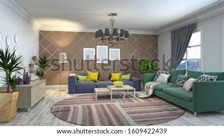 Interior of the living room. 3D illustration. #1609422439