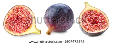 Figs isolated on white. Ripe fresh fig half Clipping Path. Figs collection #1609472392