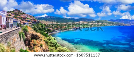 Beautiful traditional islands of Greece -Lesvos (Lesbos). view of picturesque town Molyvos (Mithymna) #1609511137