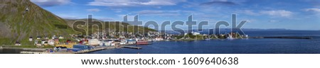 Panoramic picture of isolated Norwegian village of Honningsvag close to north cape in summer