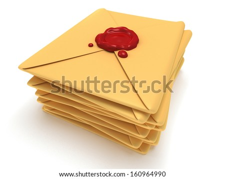 Pile of blank mail envelope with red wax seal over white background. E-mail concept icon. 3D render #160964990