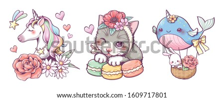 Cute hand drawn doodle Unicorn flower, cat macaron and whale balloon clip art set, vector illustration, kawaii character cartoon design, wallpaper, logo and sticker tattoo.
