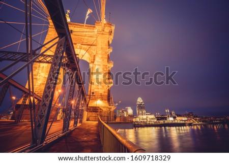 John A. Roebling Suspension Bridge in Cincinnati. Cincinnati, Ohio, USA.
