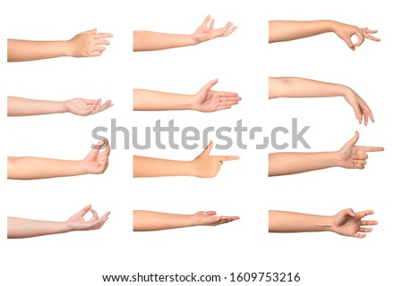 Set of Woman hands isolated on white background. #1609753216