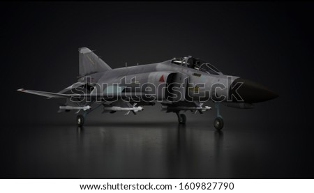 F-4 phantom aircraft fighter jet in undisclosed location in hangar side view 3d render #1609827790