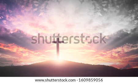Easter concept: The Cross symbol of christian and Jesus Christ